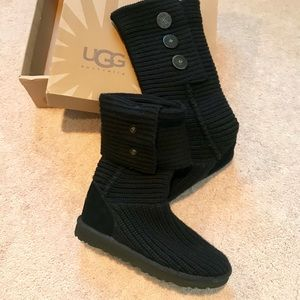 Ugg Classic Cardi Black Knitted Boots